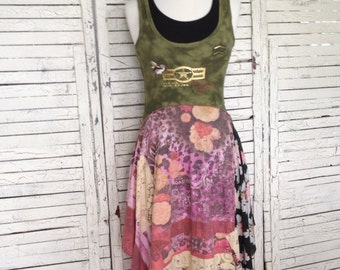 Sale, Army Green and Floral Dress XS/S, Upcycled Clothing, Tank Top Dress, Sun Dress, Upcycled Dress
