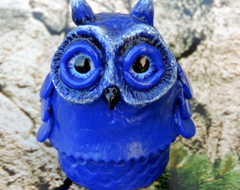 Blue owlet box in polymer clay