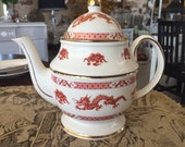 SALE Vintage Price Kensington Teapot Chinese Dragon Asian Decoration Made England English China Gold w Deep Orange Tea Party