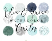 Blue & Green Watercolor and Shimmer Circles - Confetti Clip art - Circle Brush Strokes Clipart - by Indie Grace Design