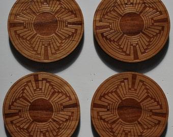 Native design laser engraved Cherry coasters - set of 4