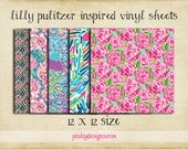 12x12 #1 Lilly Pulitzer Inspired Vinyl Sheets - High Quality Indoor/Outdoor Adhesive Vinyl - Large Print or Tiled - Over 100 Patterns