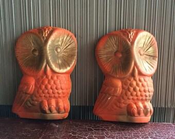 Vintage owl chalkware owl wall hangings