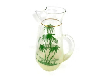 Vintage Blendo Pitcher Yellow Ombre with Palm Trees by West Virginia Glass Co 1960s