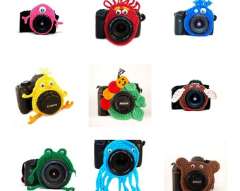 Set of 2 Camera Buddies, Crochet Lens Buddy, Animal Camera Buddy Set, Monster Lens Buddy Set, Photographer Gift, Camera Accessory