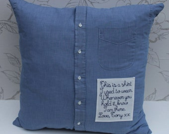 Shirt Keepsake Cushion, Mourning Gift, Mens Buttoned Shirt Remembrance Cushion, Man's Shirt Pillow, Embroidered Patch Cushion, Memory Pillow