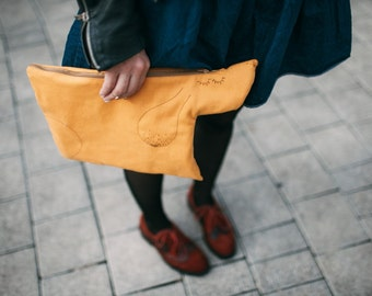 Yellow clutch. Canvas clutch. Tablet sleeve.