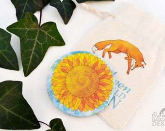 Sunflower Fabric Pocket Mirror, Cosmetic Mirror, Makeup Mirror, Gifts for Women, Fabric Covered Mirror