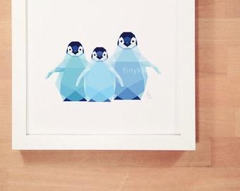 Penguin baby art, Baby penguins, Art for twins, Art for siblings, Geometric art, Polar bear, Print for baby, Baby wall art, Kids nursery art