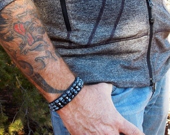 Tree of Life Obsidian Men's Wrap Bracelet