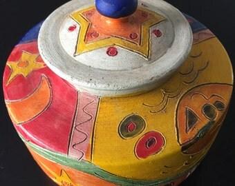 BZ Painted Pottery Lidded Jar