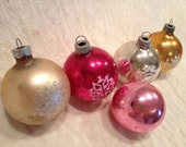 Five Gold Silver and Red Shiny Brite Ornaments