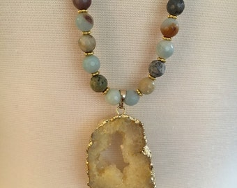Long Druzy amazonite beaded long necklace, Long pendant necklace druzy gold