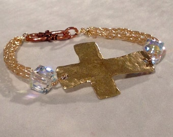 Viking Knit Bracelet Gold Cross Easter Jewelry Swarovski Crystals