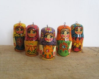5 Vintage russian dolls, Little figurines, Wood, Handpainted, 1950-1960, Handicraft