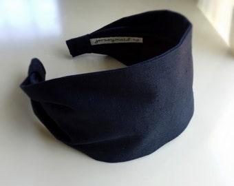 Navy Blue Linen Headband for women . Jerseymaid adult headband woman structured no slip wide hair band short hair accessories women