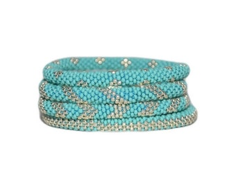 Summer Turquoise and Galvanized Silver Beaded Handmade Bracelets Set, TOHO Galvanized Japanese Seed Beads,Nepal, High quality