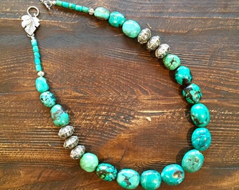 Super large gorgeous turquoise and silver necklace