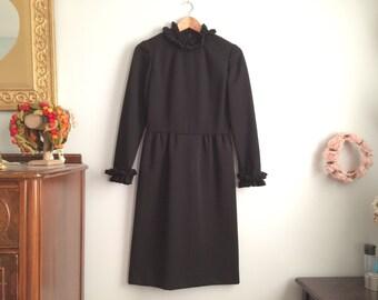 1960s Black Dress With Ruffled Mock Neck / Vintage Black Ruffle Dress