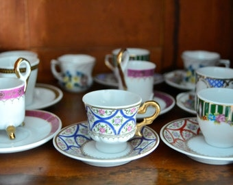 Mini vintage coffee cups, For Collectors Porcelain Miniature Coffee Set of eight,