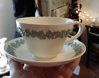 Wedgwood Queens Ware Tea Cup and Saucer featuring raised Grape Leaf pattern