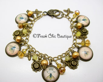 Queen Bee Charm Bracelet, Altered Art Bracelet, Bee Bracelet, Honey Bee, Bee Jewelry
