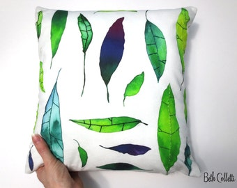 Green Throw Pillow, Green Leaves 14x14 Pillow Cover, Green Leaf Fabric Nature Pillow, Boho Pillow Cover, Hand Embroidered Pillow Cover