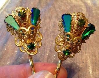 SALEWindyDays Decorative Hair Pins Jewelry 1940's Bridal West Germany Blue Green Rhinestone Hairpins Bobby Pins