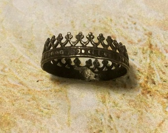 Sterling Crown Ring Oxidized Reign Game Thrones Filigree