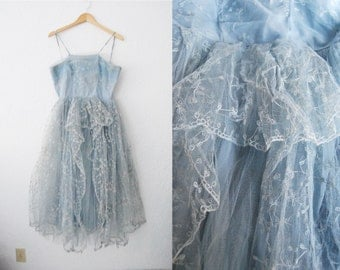 Vintage 50s Blue Lace Tulle Prom Party Dress / Wedding / Midi Dress / Embroidered