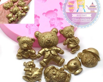 Set of 7 bears Baby Shower Silicone Mold 473L Fondant Gumpaste Polymer Clay fimo Cookie topping Chocolate Melts Flexible Mold BEST QUALITY