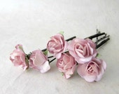Blush Pink Wedding Hair Accessories. Mini Paper Rose Hair Pins. Dusty Pink Rustic  Wedding Floral Bobby Pins. Muted Pink Hair Accessories.