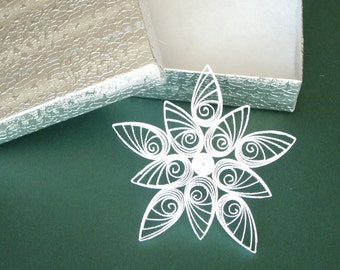 Paper Quilled Christmas Snowflake Ornament Gift Topper ~ Teacher Gifts ~ Gifts Under 5.00 ~ Gifts under 10.00