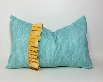 Ruffle pillow cover. Aqua lumbar pillow. Yellow ruffle lumbar pillow, 12x18 decorative sofa throw pillow, aqua home decor