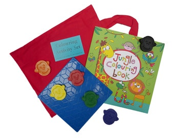 Monkey Crayons - Activity Pack - Colouring Activity Set - Jungle Crayons - Jungle Party - Colouring - Gift for Children - Handmade Crayons