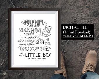 Hold Him a Little Longer, Baby Shower Gift, new parents, family love, Hand Lettered Art, little boys sign, baby boy, custom poem, poem art