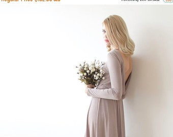 Taupe backless mini dress, Bridesmiads dress with long sleeves
