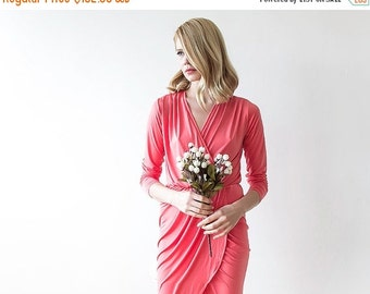 Maxi wrap coral dress, Formal coral gown with long sleeves