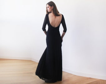 Black lace backless maxi gown, Lace black dress, Long sleeves lace dress