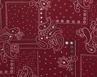 ℳ Red Bandana Vintage Print 100% Cotton 58 Inches Wide FC12610