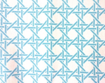 ℳ Turquoise Rattan Blues 100% Cotton 45 Inches Wide FC12527