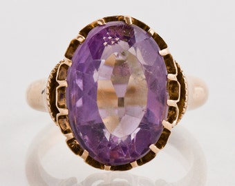Antique Ring - Antique 14k Rose Gold Amethyst Ring