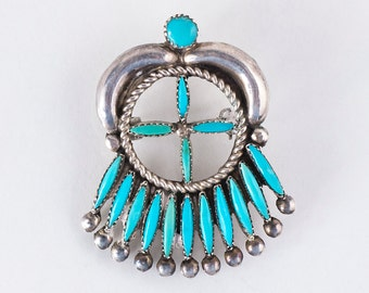 Turquoise Pendant/Pin - Vintage 1950's  Zuni Pettipoint Sterling Silver Pendant/Pin