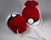 Satchel Pouch Bag - Pokemon Inspired Pokeball Design - Drawstring, 3 sizes available