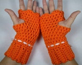 TANGERINE Heads-Up Chunky Crocheted Wrist Warmers - Keep Warm in Style this Winter