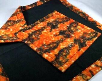 Doll Quilt or Beardie Blanket Set, FLAME DRAGONS print, for Bearded Dragon, Cat, Dog, Snake, Iguana, Ferret, etc