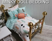 """American Girl Doll bedding,Aqua and Coral Feathers Comforter with Reversible Aqua Minky, 4 decorative pillows, fits any 18-20"""" doll #"""