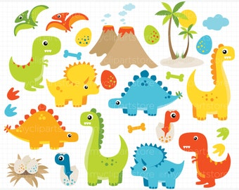 Clipart - Dinosaur Fun / Boy Dinosaurs - T-Rex, dino eggs, vector graphics, digital clip art, digital images, commercial use clipart