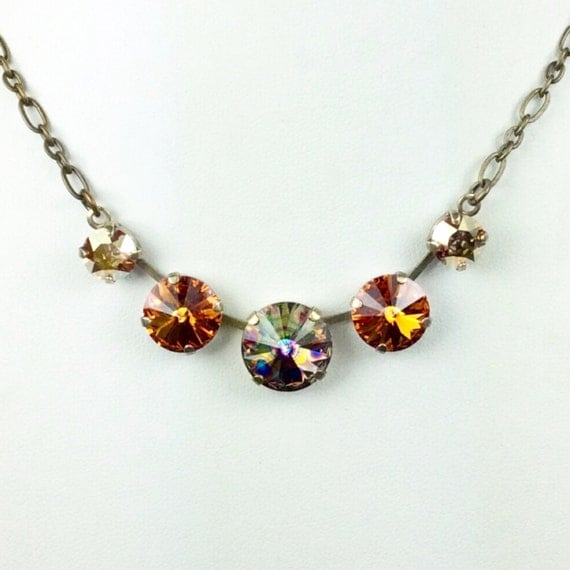 Swarovski Crystal Necklace 14MM, 12mm, 8.5mm - Five Stone Necklace 14MM Golden Peacock Eye Center   Sparkle & Shimmer - FREE SHIPPING
