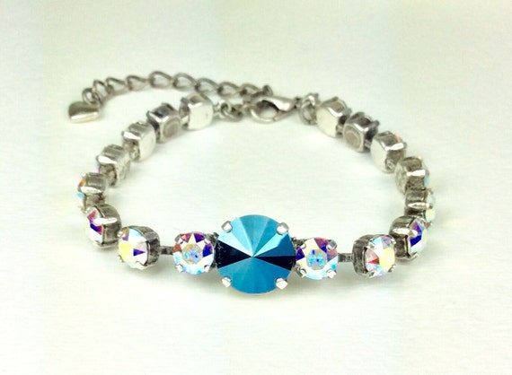 Swarovski Crystal 12MM & 6MM Bracelet -   Designer Inspired -  Metallic Blue and Aurora Borealis - Stunning! On SALE! Now 25.  FREE SHIPPING